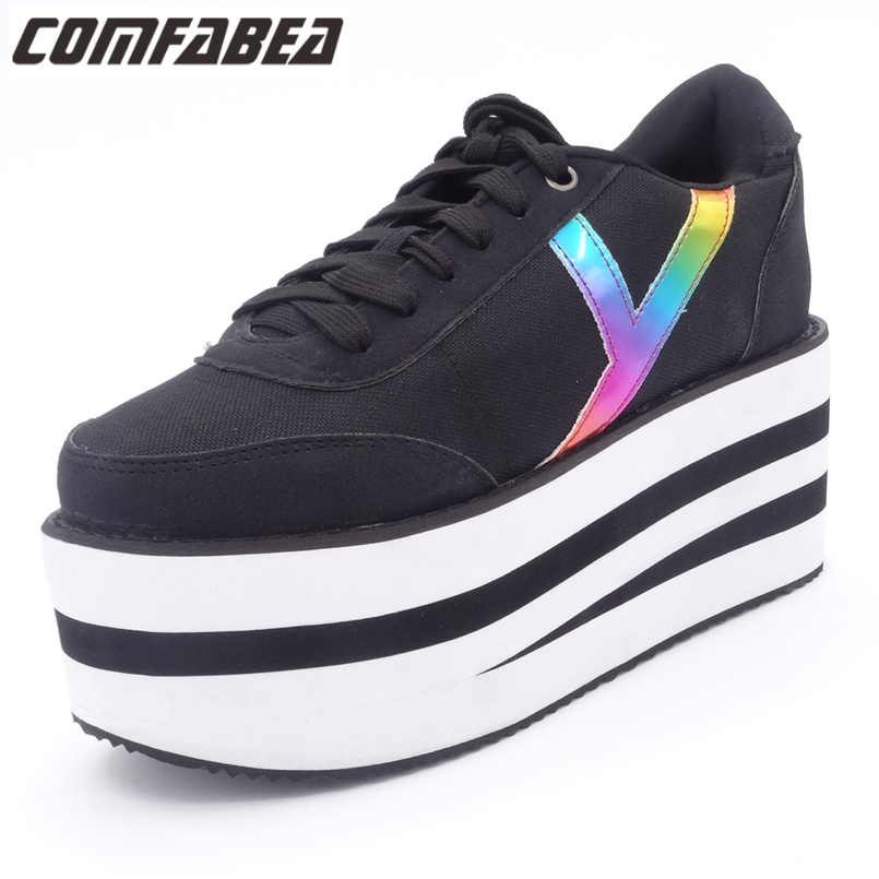 Comfortable Womens Platform Shoes Spring 2018 Women Casual Canvas Shoes Flats Creepers Harajuku Punk Ladies Shoes  Four season fashion womens shoes warm winter cotton shoes tennis feminino casual girl shoes comfortable ladies flats long plush women flats
