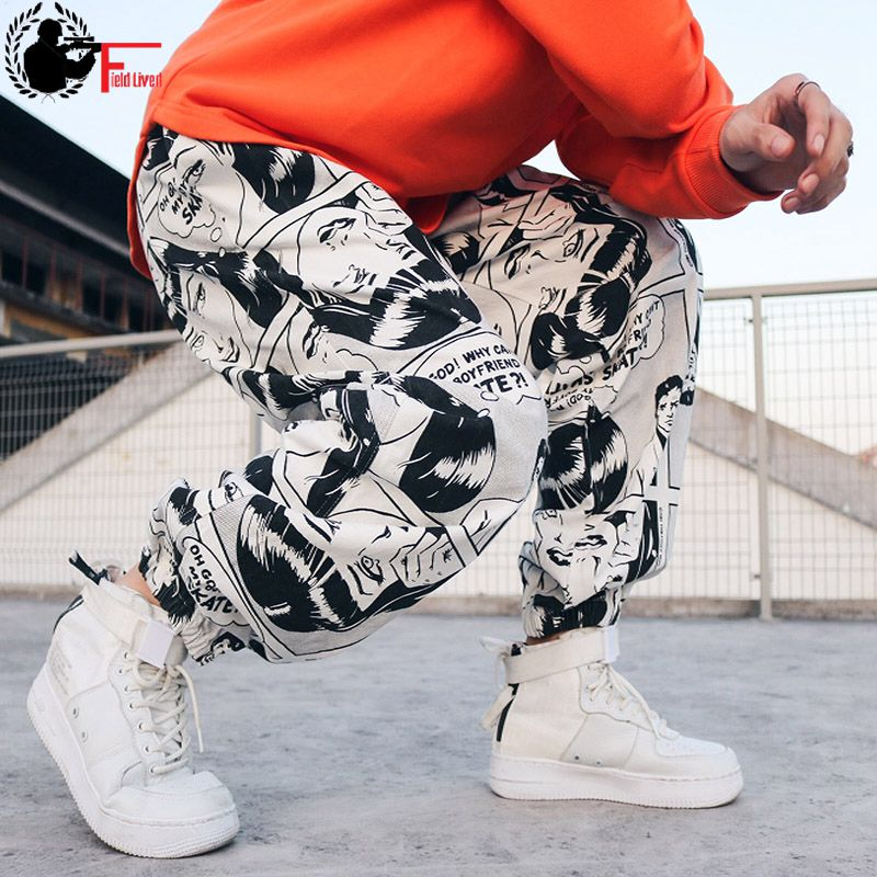 Streetwear Trousers Graphic Print Joggers Mens Baggy Pant Drop-Crotch Hiphop Loose Male