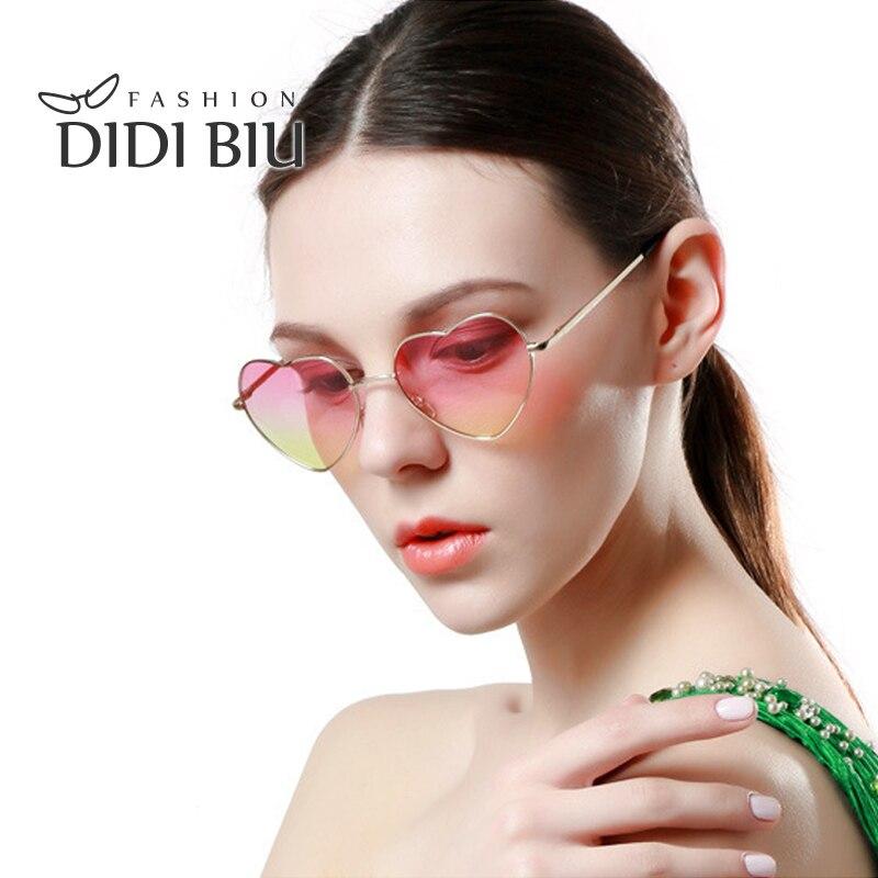 DIDI Em Forma de Coração Óculos De Sol Das Mulheres Marca Rosa Frame Da Liga  de Óculos de Lente Gradiente Rainbow Color Oceano Fresco Partido Claras  Oculos ... 3f79a7b40d
