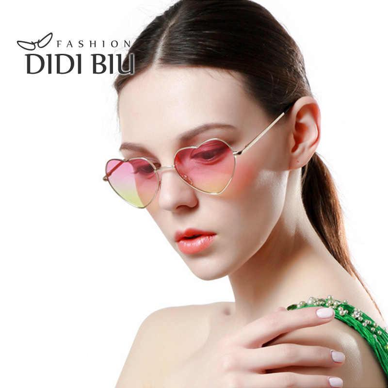 ce1ccc80f6 DIDI en forma de corazón de gafas de sol mujer marca Rosa degradado de  Color de