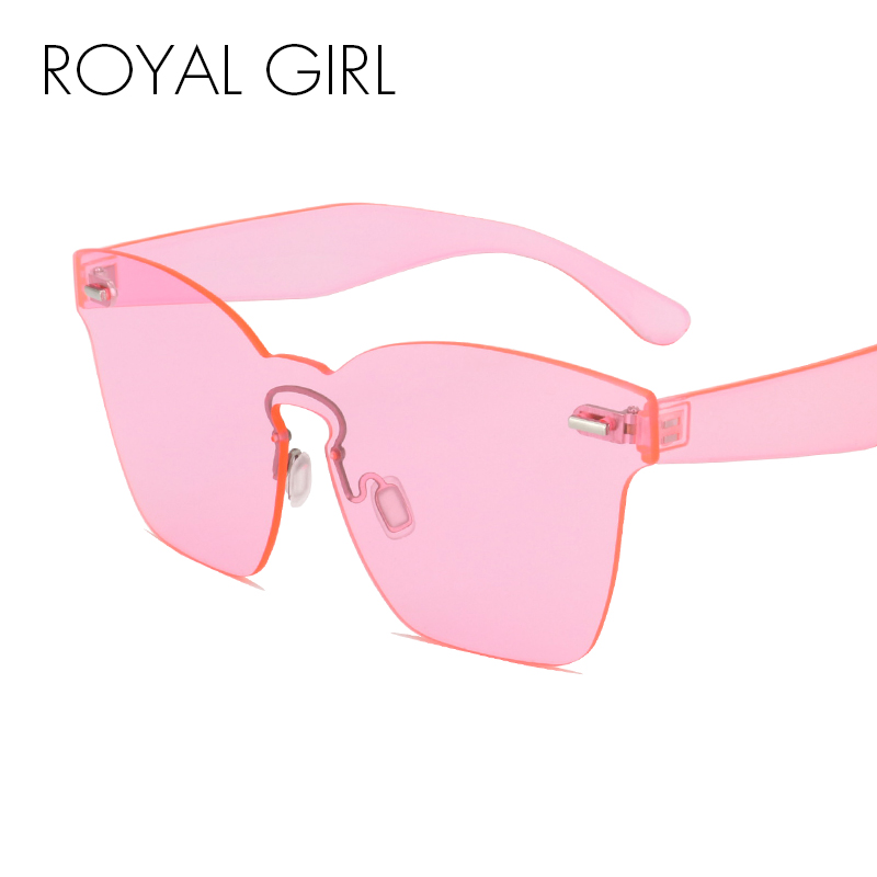 ROYAL GIRL Rimless Sunglasses Women Vintage acetate frame unique style summer shades SS656