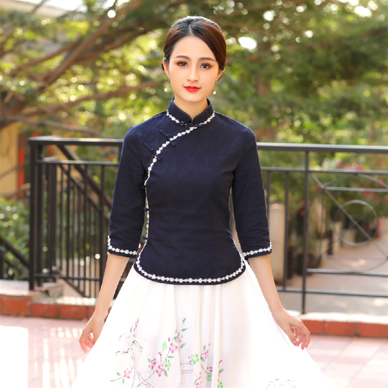 Sheng Coco S-4XL Plus Size Traditional Chinese Clothing Cheongsam Shirts Navy Blue Woman Cheongsam Blouse Cotton Qipao Tops