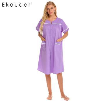 Ekouaer, camisón 100% de algodón con botones, vestido de noche con cuello redondo, Vestido de manga corta para casa, ropa de dormir, camisón holgado