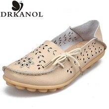 Новые ботинки женщина квартиры сплит кожа скольжения на мокасины женщины плоские обувь повседневная мокасины плюс размер женская обувь 35-43