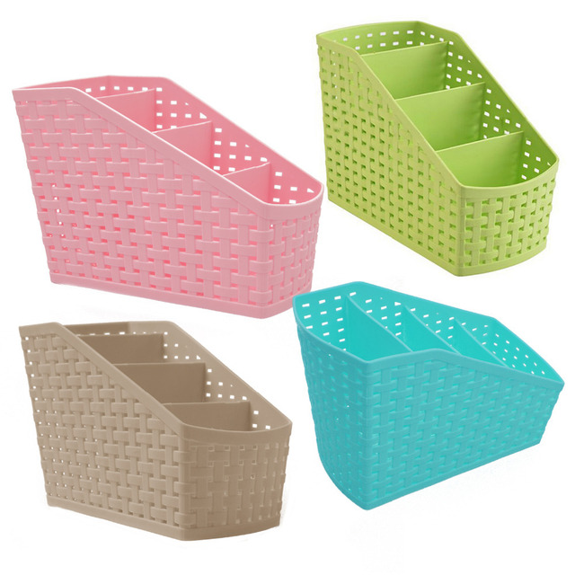 NC Plastic Storage Box Rangement Desktop 4 Grid Sub Grid Case Organizer For  Make Up