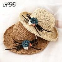 Новый дамы ручной цветы соломенная шляпа Женщин тенденции моды складной соломенная шляпка