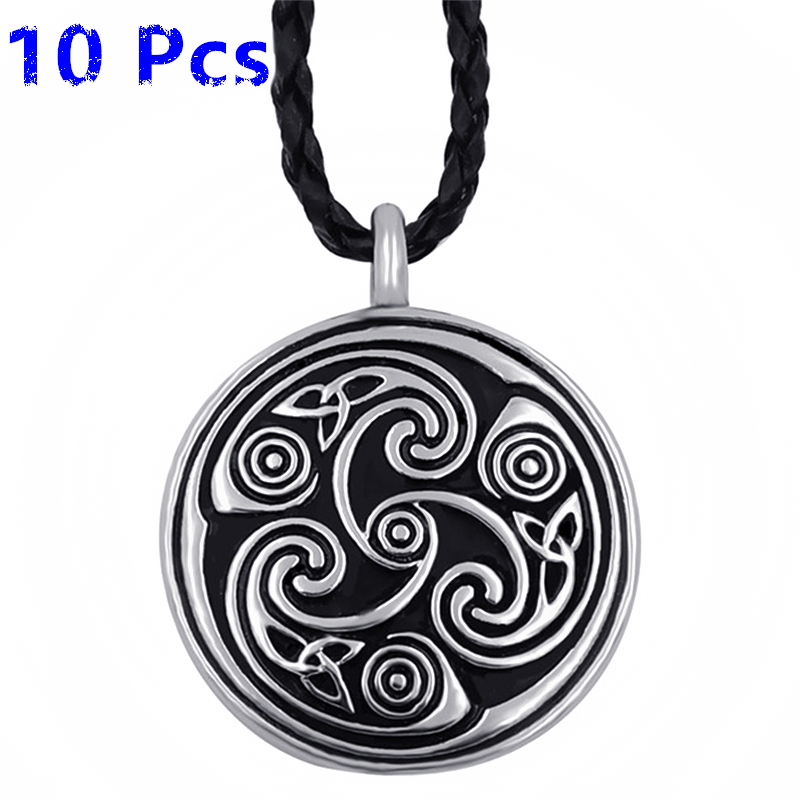 Wholesale 10 Pcs Triquetra Trinity Celtic Triskele Mens Boys Pewter Pendant with 24 Necklace Jewelry WLP272Wholesale 10 Pcs Triquetra Trinity Celtic Triskele Mens Boys Pewter Pendant with 24 Necklace Jewelry WLP272