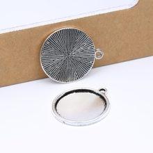 Reidgaller 20 pcs de prata antigo cameo cabochão configuração da base de 20mm de diâmetro rodada em branco moldura bandejas diy resultados da jóia