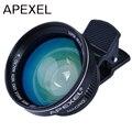 APEXEL Profesional HD Lente Super Gran Angular 0.63x 12.5x Súper lente macro con clip universal 37mm rosca para iphone 6 Samsung