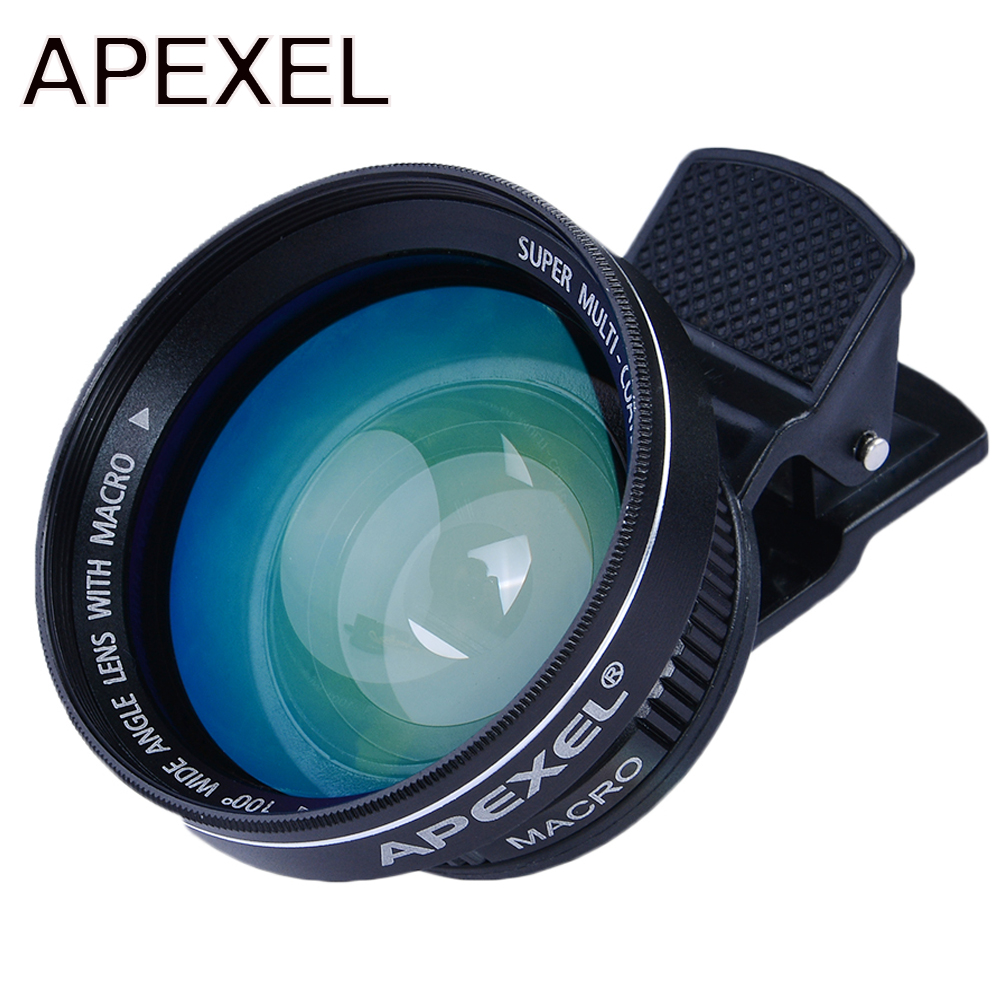 bilder für APEXEL Professionelle HD 0.63x Superweitwinkel 12.5x Super Makro-objektiv mit Universal clip 37mm gewinde für iPhone 6 Samsung