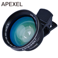 APEXEL Profissional HD 0.63x 12.5x Lente Super Grande Angular Super lente macro com grampo universal 37mm fio para iphone 6 Samsung