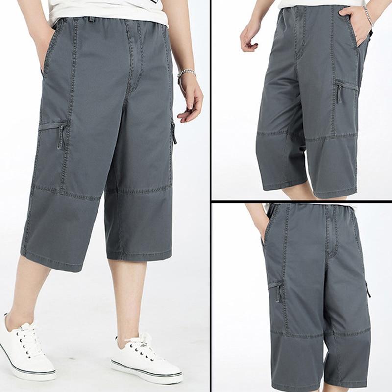 4dc510cd83 Plus Size 3/4 Pants Men Summer Drawstring Elastic Waist Baggy Cargo Pants  Men Loose Pocket Pants Trousers Big Size 5XL 6XL-in Cargo Pants from Men's  ...