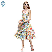 Ameision Fashion Designer Runway Dress Spring Women Spaghetti strap Backless Floral Print Ball Gown Cascading Ruffle Beach