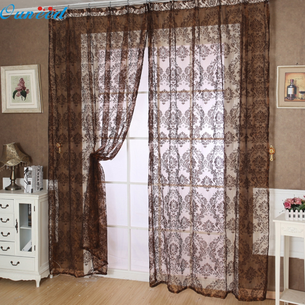 Happy home Modern Europe Home Decoration 2016 Color 200x100cmEuropean Classical Style Tulle Window Screens Balcony Curtain Panel
