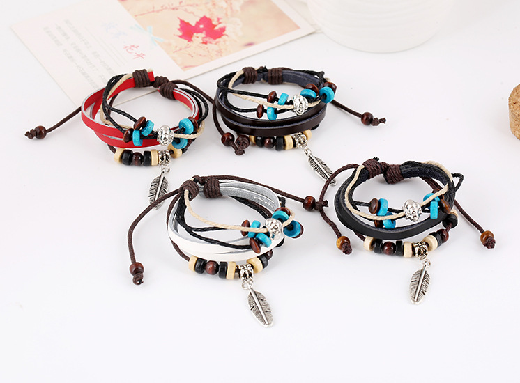 Fashion Black White pink blue Bracelet Vintage Round Religious Charm Wrap Multilayer Bracelet Pulseras For Men