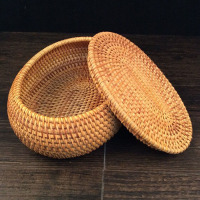 100% handmade Vietnam Autumn Rattan jewelry storage box organizer crafts snacks ornament dried fruit food Sundry neating basket