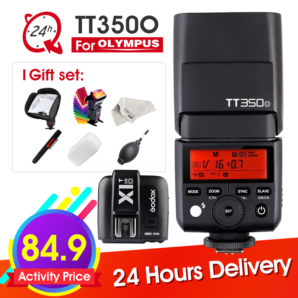 Godox  Mini TT350O Speedlite TTL HSS1/8000S GN36 Camera Flash Pocket lights TT350 + X1TO Trigger for Olympus + 6 Gift Kits godox tt685o ttl 2 4g wireless hss 1 8000s gn60 camera flash speedlite x1t o transmitter for olympus panasonic dmc fz2500gk
