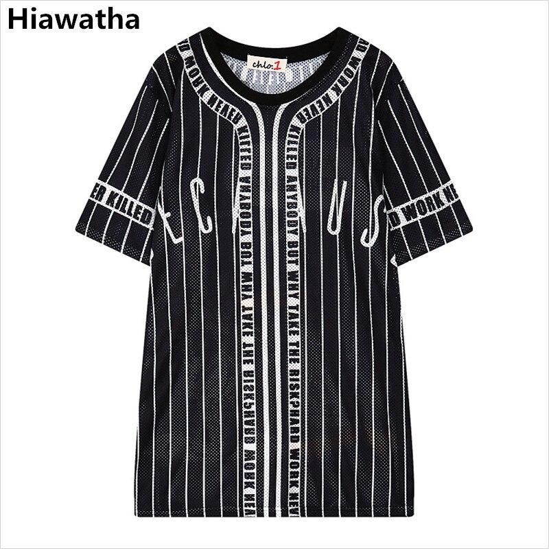 Hiawatha Summer Long T Shirt Women Cartoon Printed Hollow Out T-Shirts Harajuku Style Casual Loose Tops T2470