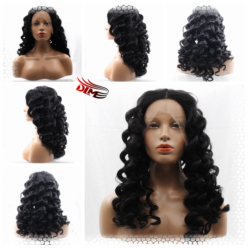 ФОТО Deep Wave Synthetic Hair Glueless Lace Front Wig Brazilian Deep Wave Synthetic Lace Front Natural Look Likes Real Hair Styles