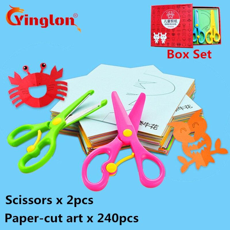 240 Pcs With 2 Scissors Children's Origami Paper-cut Set Children's Handmade Fun Stereo Handmade Kids 3D Handmade Paper-cut Book