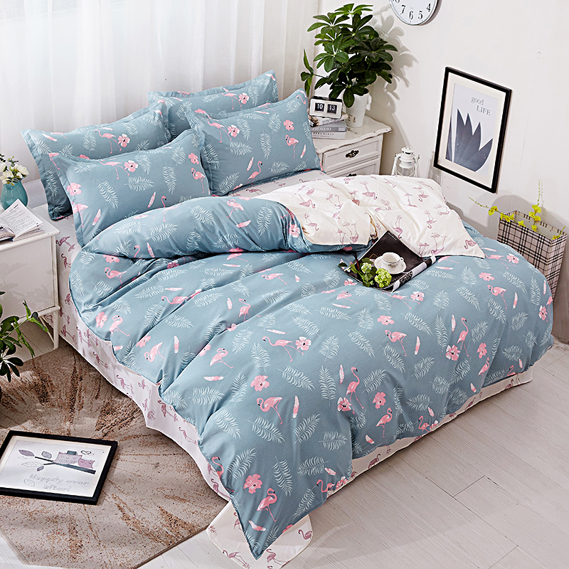 BEST.WENSD Bedding Sets California King Bedclothes Flamingo Flower Super Soft Duvet Cover Wedding Gifts Bed Linens Home Textiles