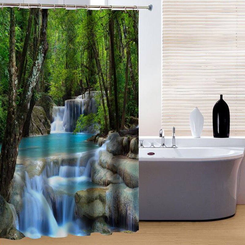 3D Shower Curtain Waterfalls Nature Scenery Water Resistant Polyester Bathroom Fixture Decor Sanitary Ware Suite Gadget AA natural sea rocks scenery print waterproof shower curtain