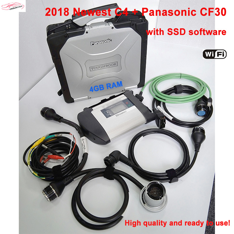 2018 newest sd connect C4 with millitary laptop CF30 + 2018.3 SSD software best quality mb star c4 compact 4 DHL Free Shipping