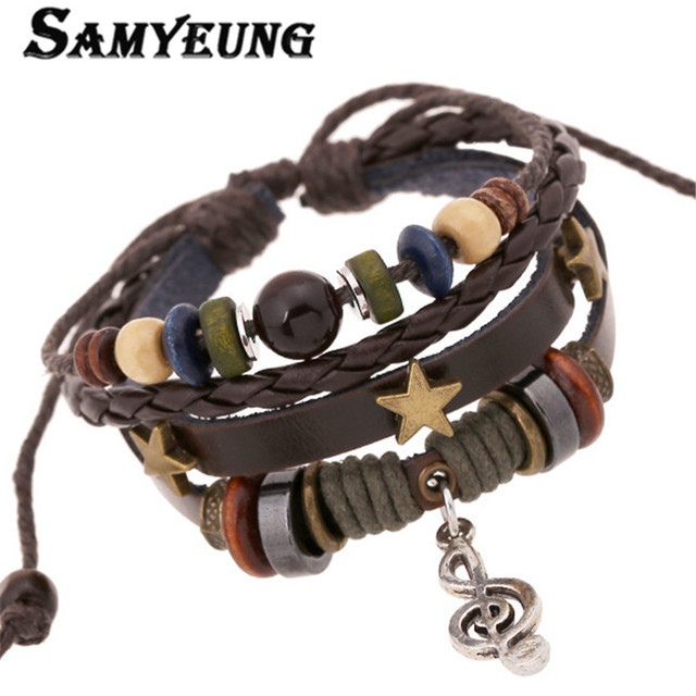 2017 Vintage Leather Braided Wrist Band Bracelets Men Braclets For Women Pulceras Mujer Hombre Pulseiras