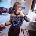 Missoov brand Fashion women clothing spring autumn sexy Disco Sequins T shirts casual Tops hipster Tees black