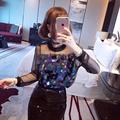 Missoov marca moda mujeres clothing otoño primavera sexy discoteca lentejuelas camisetas casual tops hipster camisetas negro