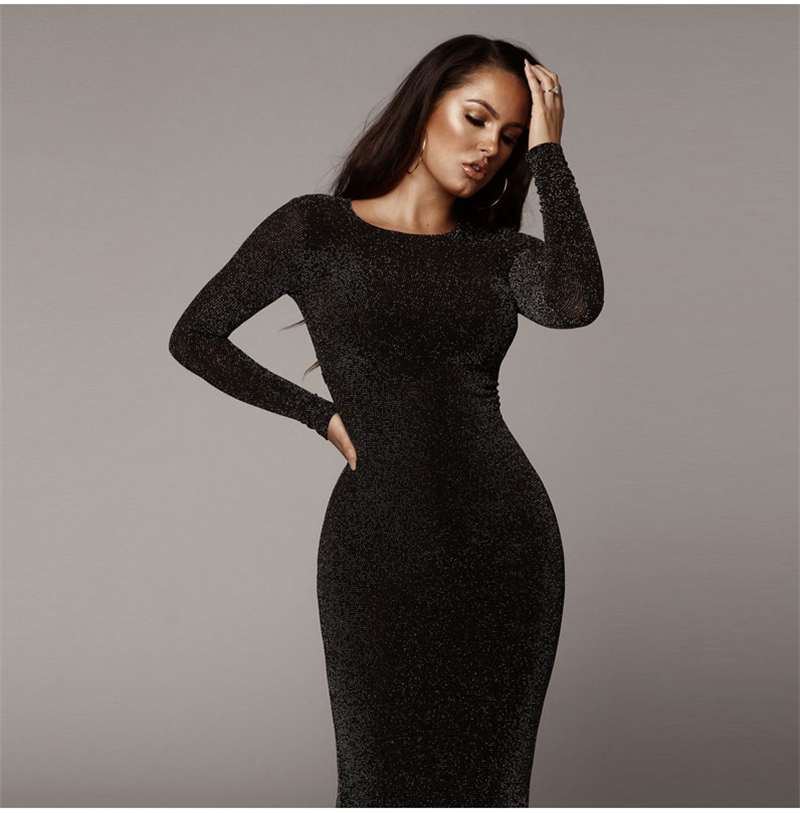 Shining Long Sleeve Midi Dress 3