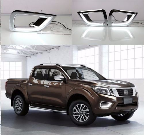 White LED DRL Daytime Fog Light Run lamp For Nissan Navara NP300 2015 2016 compatible projector lamp nec np07lp np300 np300 np300g np400 np400 np400g np410w np410wg np500 np500 np500g np500w np500wg