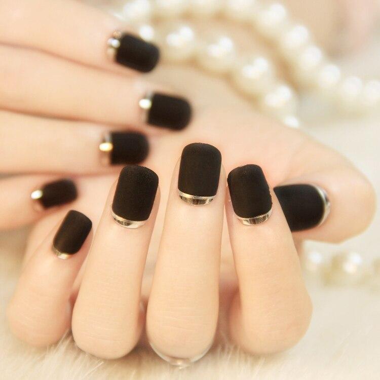 water transfer nail sticker. Black matte texture metal edge nail ...