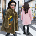 Girls Imitate Leather Fur Baby Clothes Thickening Long Fund Loose Coat Children Cotton Clip Keep Warm Overcoat