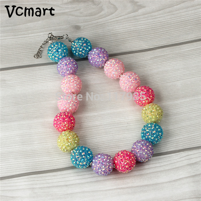 Vcmart 1pcs Baby Necklace Rainbow Shining Beads Girl Necklace Chunky Bubblegum Necklace Children Christmas Xmas Party Gift