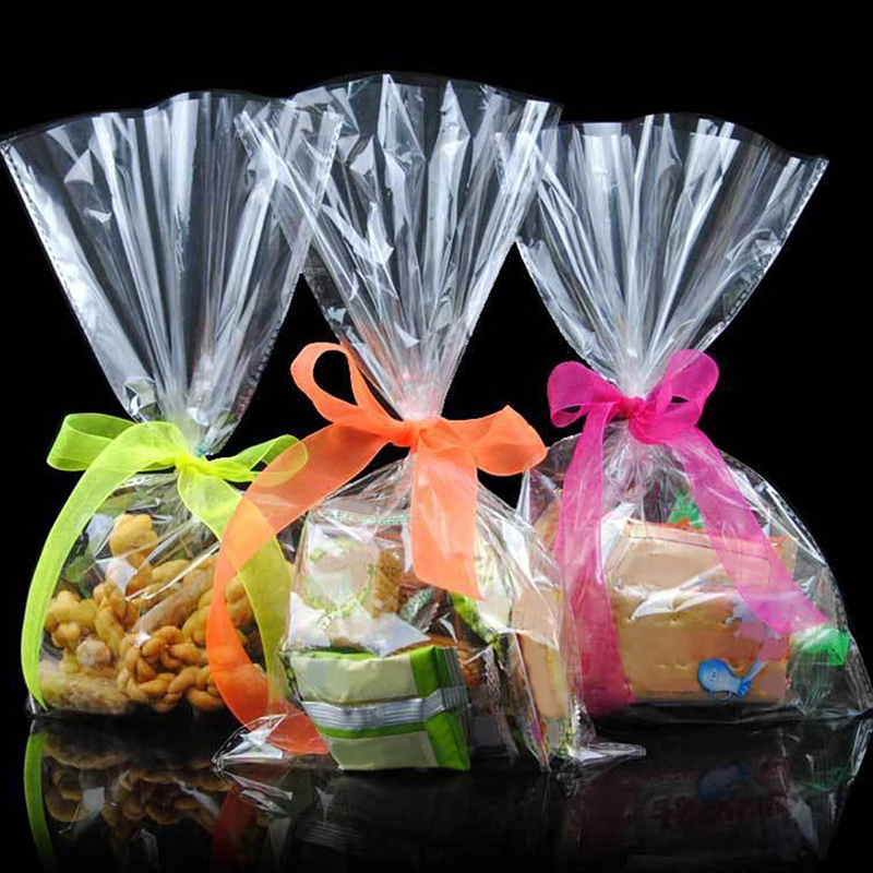 100pcs/pack Transparent Adhesive Bag Cookies DIY Gift Bag For Christmas Wedding Party Candy Food Packaging Bag MS072