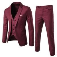 Brand 3 Pieces Blazer Vest Waistcoat Pants Social Suit Men Fashion Solid Slim Fit Mens Wedding Blazer Vintage Business Suit Male