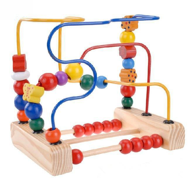 Arpa Wooden Three Metal Line Bead Maze Butterfly And Flowers Mini Rollercoaster Wire Maze Classic Baby Developmental Toy