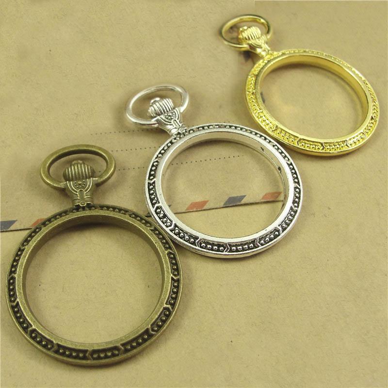 5pcs Metal Frame Pendants Pocket Watch Shape UV Resin Bezel Setting Diy Findings for Jewelry Making Handmade Crafts Accessory
