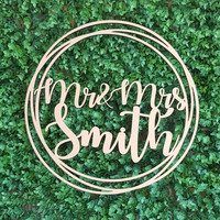 Custom Wooden Round Signs 38cm(15inch) Wedding Hoop Door Signs Personalized Wedding Decoration Welcome Sign