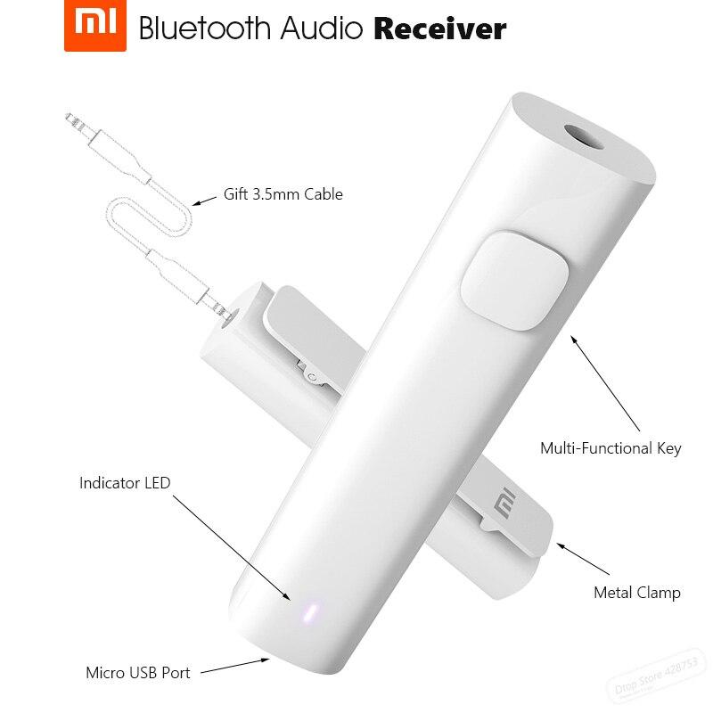 Xiaomi bluetooth 4.2 receptor de áudio portátil com fio para adaptador de mídia sem fio para 3.5mm fone ouvido alto-falante do carro aux