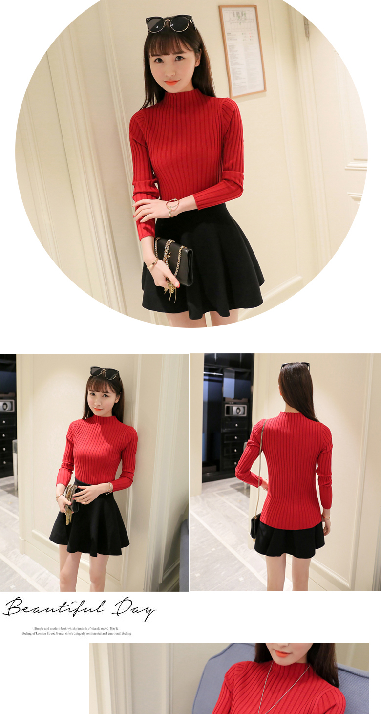 19 Autumn and winter New Korean Half turtleneck Sweater jacket Womens Long Sleeve Set head All-match knitted Sweater woman 32