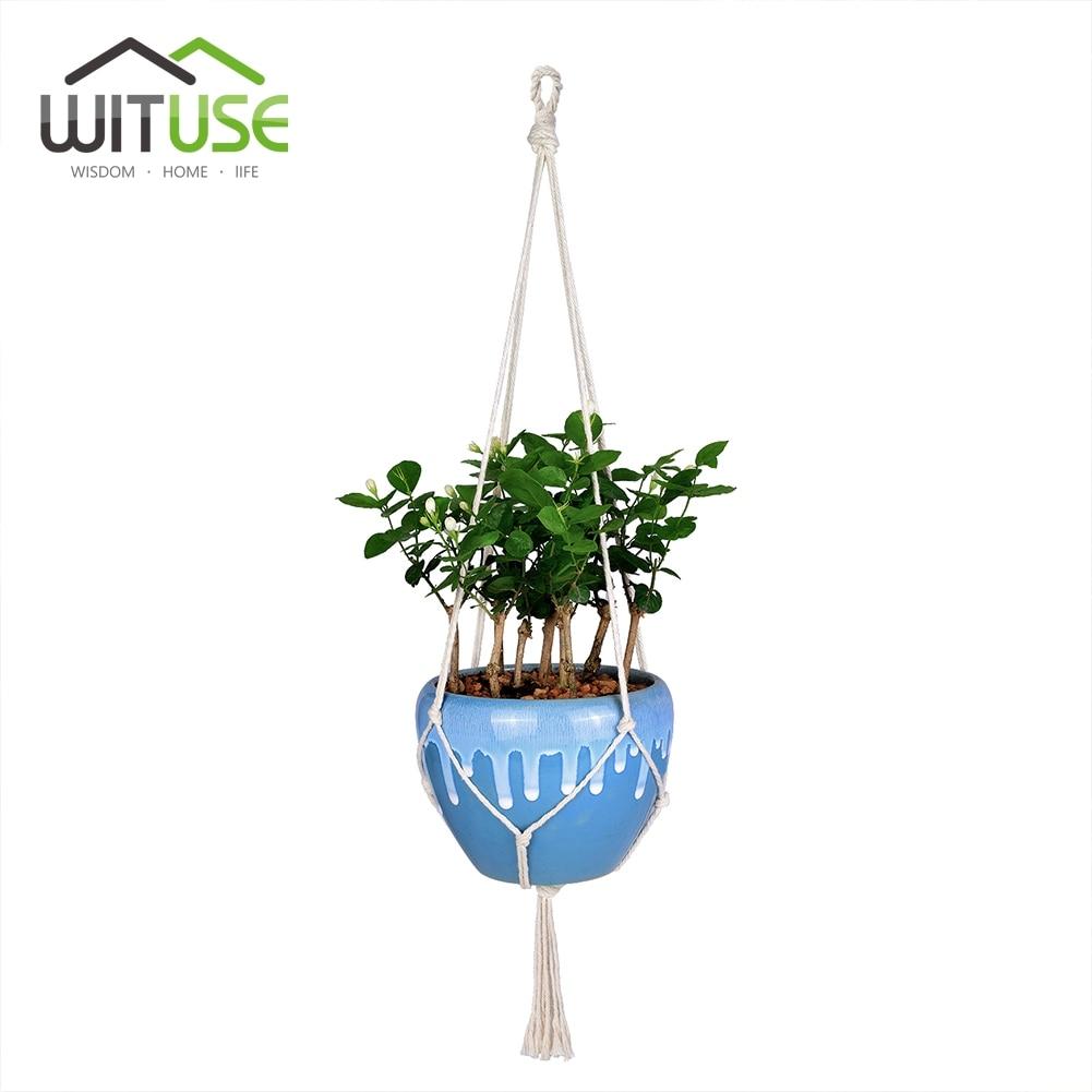 WITUSE 4x Macrame Plant Hanger Pot Houders 4 Legs Opknoping Mand - Tuinbenodigdheden