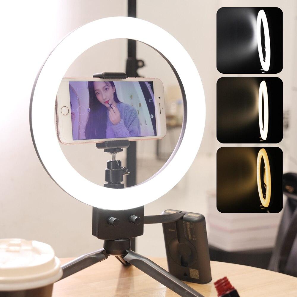 7 Inch Photo Studio Lighting 80PCS LED Bulbs Ring Light Bi-color 3200-5600k For Portrait With Tripod Phone Use Holder USB Cable