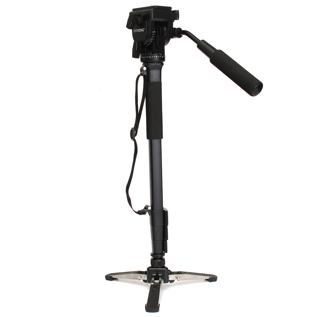 YUNTENG VCT-288 Camera Monopod+Fluid Pan Head+Unipod Holder Aluminum Alloy For DSLR Camera Loading Capacity 3kg 148cm Black