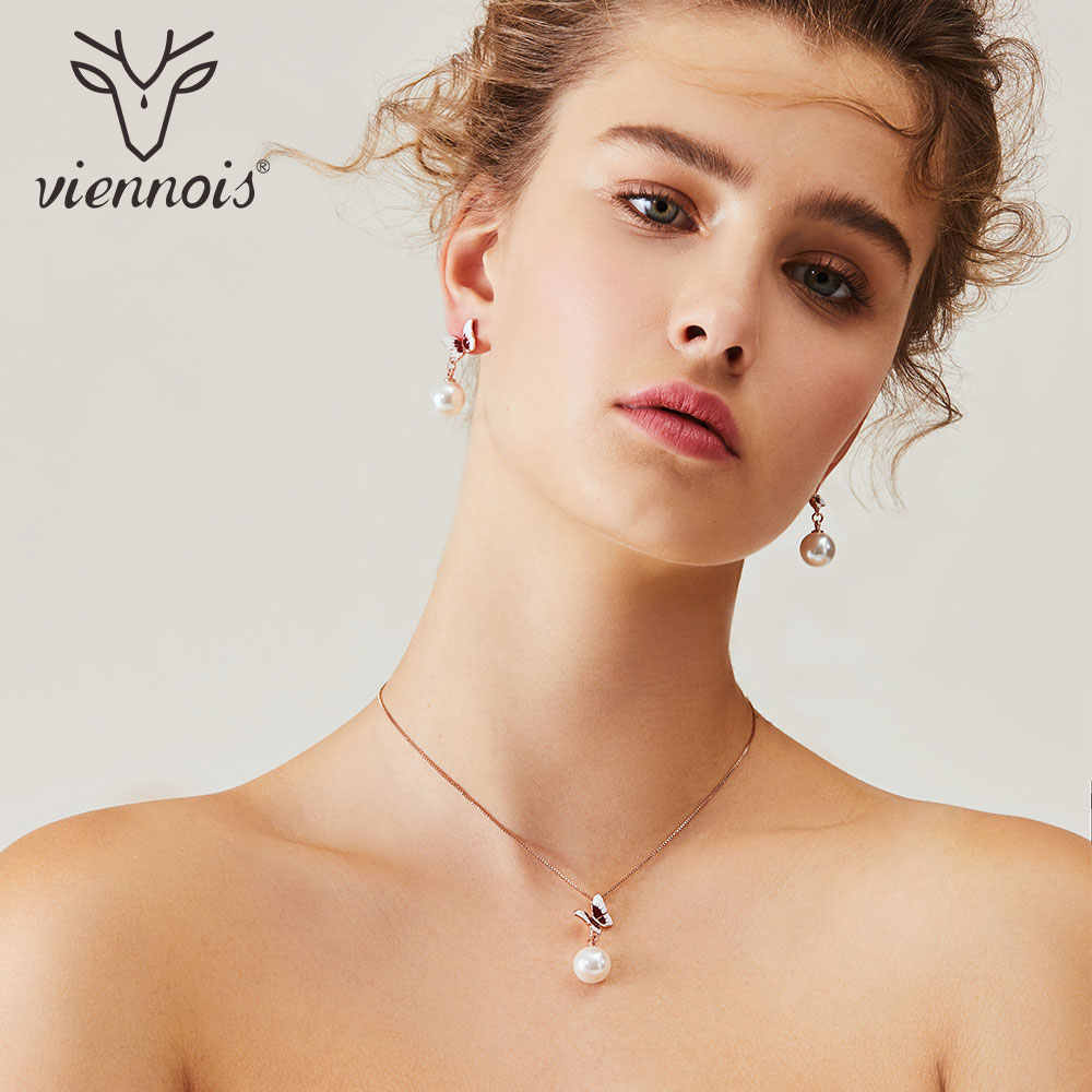 Viennois Simulated Pearl Necklace Set For Women Rose Gold Zinc Alloy Butterly Earring Wedding Paved Bridal Party Jewelry 2019