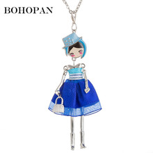 Bohopan 5 Color Elegant Doll Necklace Organza Dress Metal Handbag Pendant Charming Neck Jewelry High Quality collier femme 2019