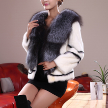 New Style Luxury Real Mink Fur Coat with Real Fox Fur Collar Winter Female  Mink Fur Coat Natural Fur Jacket for Women