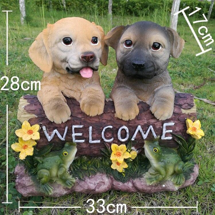 Outdoor Cute Resin Dog Figurines Crafts Villa Garden Ornaments Decoration Courtyard Park Welcome Card Simulation Animals Statue