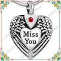 CMJ8469 Engraved Miss You Feather Heart pet urn necklace Stainless Steel Cremation Jewelry For Ashes